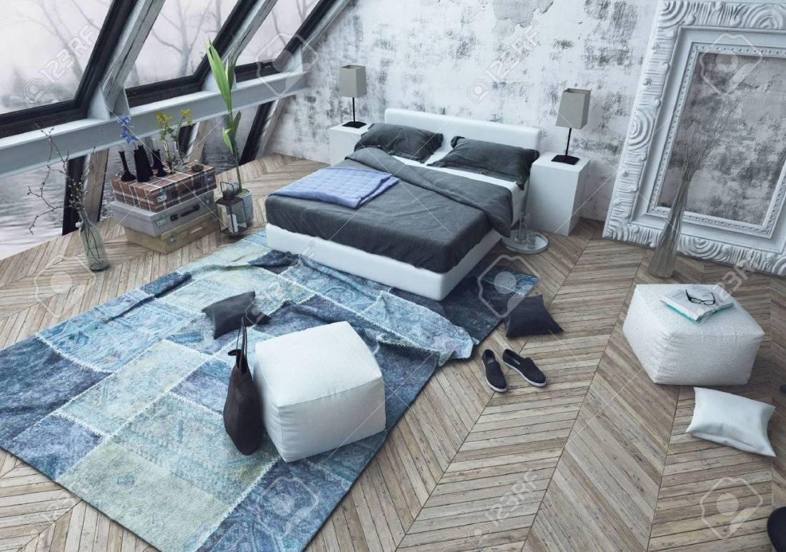 1bedroom-with-beautiful-slanted-windows-and-wooden-floor-littered-with-